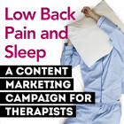Low Back Pain and Sleep: A Content Marketing Campaign for Therapists