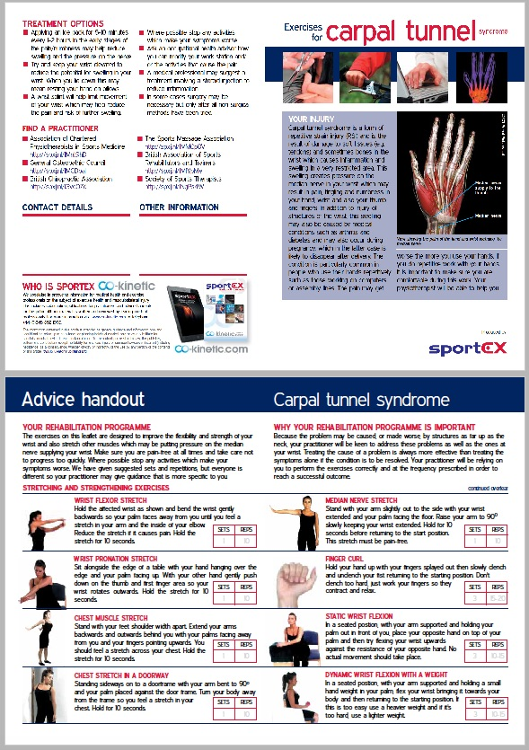 Patient Information Leaflet Exercises And Advice For Carpal Tunnel